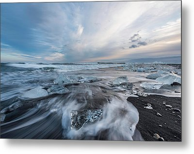 Washed Up Ice Sunset Metal Print