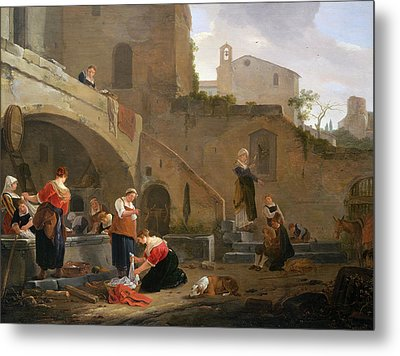 Washerwomen By A Roman Fountain Metal Print