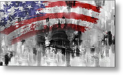 Metal Print featuring the painting Washington Dc Building 01a by Gull G