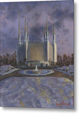 Washington Dc Temple Metal Print by Jeff Brimley
