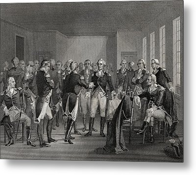 Washington Parting From His Officers At Metal Print by Vintage Design Pics