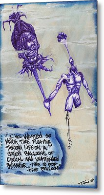 Wasted Time Is Wasted Mind Metal Print by Tai Taeoalii