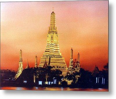 Metal Print featuring the painting Wat  Aroon by Chonkhet Phanwichien