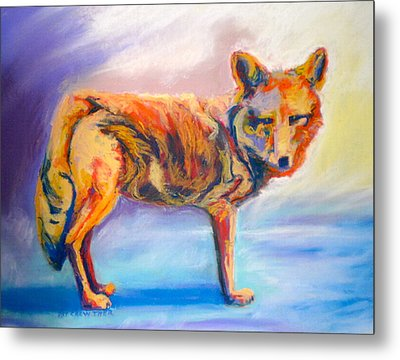 Metal Print featuring the pastel Watching Coyote by Pat Crowther