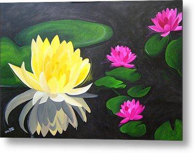 Water Lily Pond  Metal Print by Una  Miller