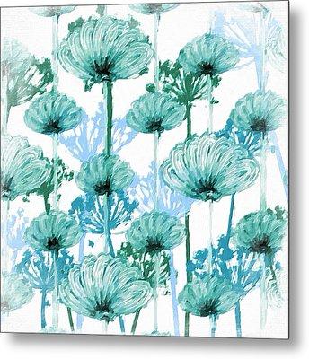Metal Print featuring the digital art Watercolor Dandelions by Bonnie Bruno