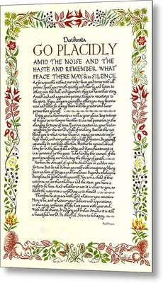 Watercolor Desiderata Wild Flower Design Metal Print by Desiderata Gallery