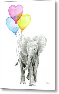 Watercolor Elephant With Heart Shaped Balloons Metal Print