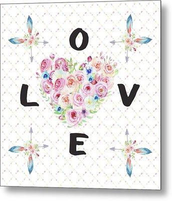 Metal Print featuring the painting Watercolor Flowers Arrows Love Typography by Georgeta Blanaru