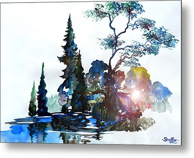 Watercolor Forest And Pond Metal Print by Curtiss Shaffer