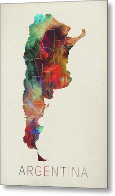 Watercolor Map Of Argentina Metal Print by Design Turnpike