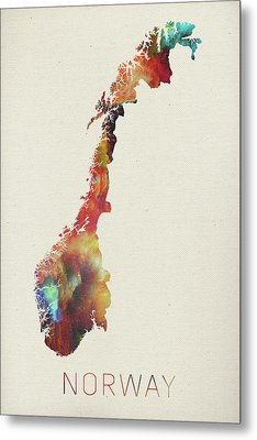 Watercolor Map Of Norway Metal Print by Design Turnpike