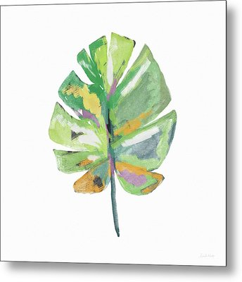 Watercolor Palm Leaf- Art By Linda Woods Metal Print by Linda Woods