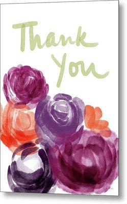 Watercolor Roses Thank You- Art By Linda Woods Metal Print