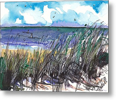 Watercolor Seashore Metal Print by Michele Hollister - for Nancy Asbell