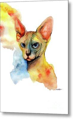 Watercolor Sphynx 2 Metal Print by Akiko Okabe