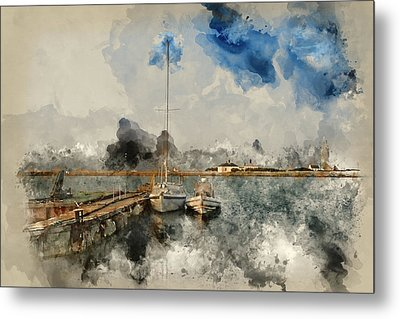 Watercolour Painting Of Hurst Spit Jetty, Boats And Lighthouse. Metal Print by Matthew Gibson