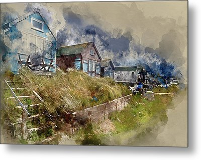 Watercolour Painting Of Lovely Beach Huts On Sand Dunes And Beac Metal Print by Matthew Gibson