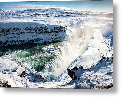 Waterfall Gullfoss Iceland In Winter Metal Print by Matthias Hauser
