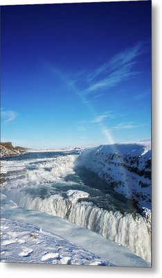 Waterfall Gullfoss In Winter Iceland Europe Metal Print by Matthias Hauser