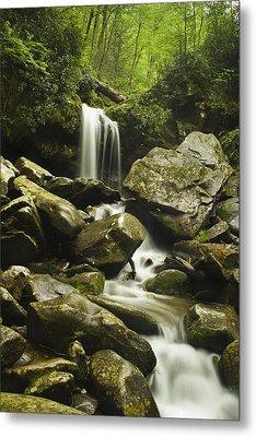 Waterfall In The Spring Metal Print by Andrew Soundarajan