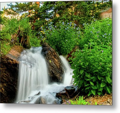 Waterfalls Above Dream Lake Metal Print
