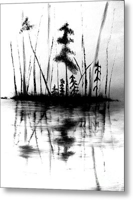 Metal Print featuring the painting Waters Edge by Denise Tomasura