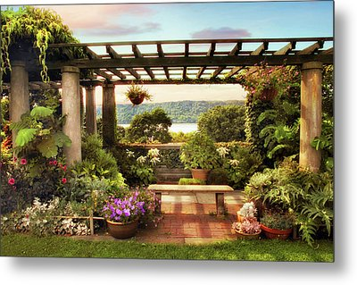 Wave Hill Pergola Metal Print