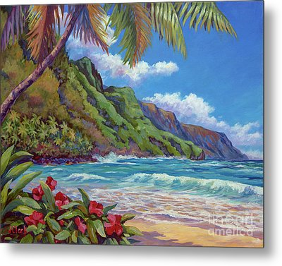 Waves On Na Pali Shore Metal Print by John Clark