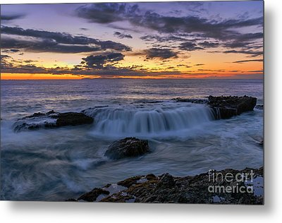 Metal Print featuring the photograph Wave Over The Rocks by Eddie Yerkish