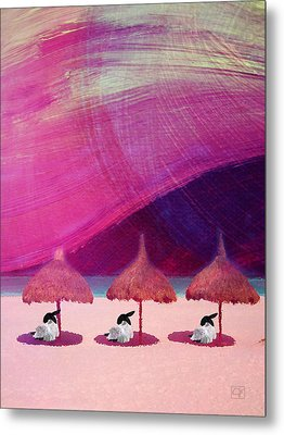 Metal Print featuring the digital art We Are But Sheep On The Beach by Jean Moore