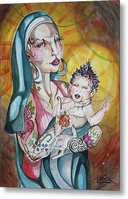 We Can Do It  Inked Mary And Jesus Metal Print by LEX Covato