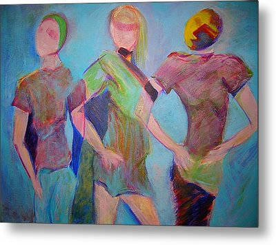 Metal Print featuring the painting We Three by Mary Schiros