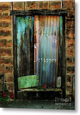 Weatherd Entry Metal Print by Perry Webster