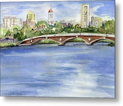 Weeks Footbridge Over The Charles River Metal Print by Erica Dale Strzepek