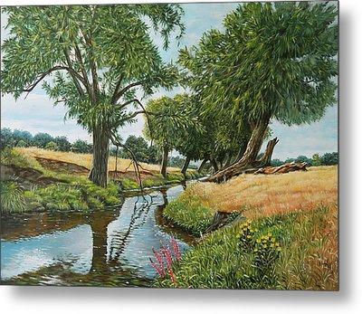 Weeping Willows At Beverley Brook Metal Print