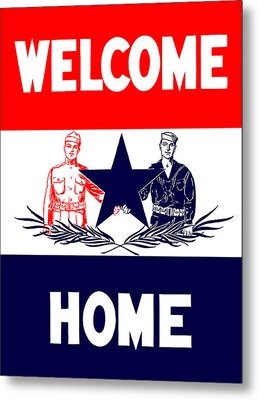 Vintage Welcome Home Military Sign Metal Print by War Is Hell Store