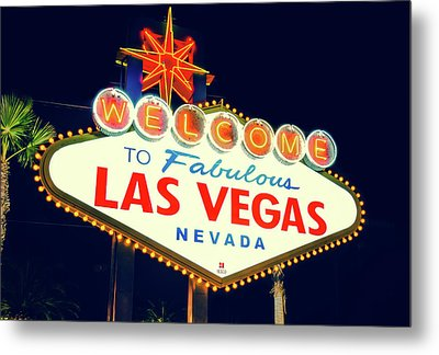 Metal Print featuring the photograph Welcome To Las Vegas Neon Sign - Nevada Usa by Gregory Ballos