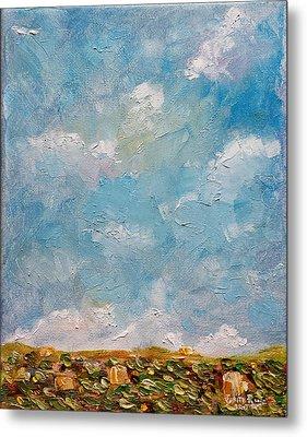 Metal Print featuring the painting West Field Seedlings by Judith Rhue