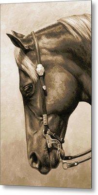 Western Pleasure Horse Phone Case In Sepia Metal Print