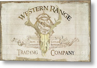 Western Range 3 Old West Deer Skull Wooden Sign Trading Company Metal Print by Audrey Jeanne Roberts