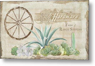 Western Range 4 Old West Desert Cactus Farm Ranch  Wooden Sign Hardware Metal Print by Audrey Jeanne Roberts
