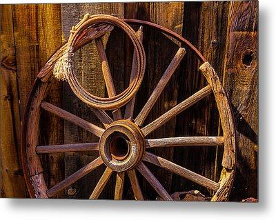 Western Rope And Wooden Wheel Metal Print