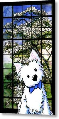 Westie At Dogwood Window Metal Print by Kim Niles