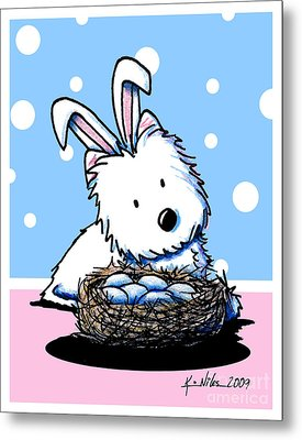 Westie Easter Rabbit Metal Print by Kim Niles