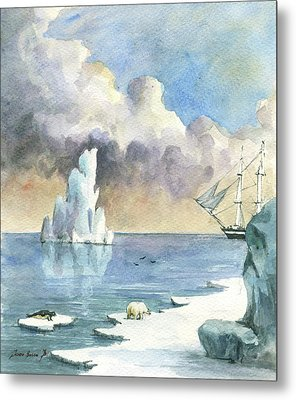 Whaler On Ice Metal Print