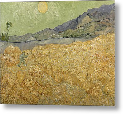 Wheatfield With Reaper Metal Print by Vincent Van Gogh
