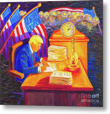 While America Sleeps - President Donald Trump Working At His Desk By Bertram Poole Metal Print by Thomas Bertram POOLE