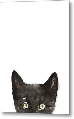 Whimsical Cat Poster, Funny Animal Black Cat Drawing, Peeking Cat Art Print, Animals Painting Metal Print