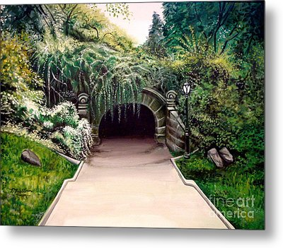 Metal Print featuring the painting Whispering Tunnel by Elizabeth Robinette Tyndall